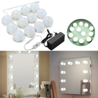 Meilleurs prix 4M 12Bulbs White Hollywood Style LED Vanity Mirror Lights Kit + EU Adapter+Dimmer DC12V