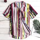 Promotion Mens Striped Casual Vacation Beach Shirts Plus Size