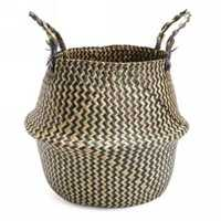 Natural Seagrass Belly Basket Storage Holder Plant Pot Bag Home Decoration 38*36CM