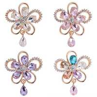 Elegant Crystal Flower Brooch Colorful Scarf Jewelry Clothing Accessories for Her