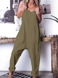 Solid Color Spaghetti Straps Cotton Jumpsuit with Pockets