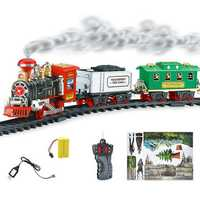Electric Remote Control Simulation Rail Train Chargeable Steam Car Smoking Model Kids Christmas Gift