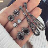 Bohemian Cubic Zirconia Opal Crystal Earring Stud Set