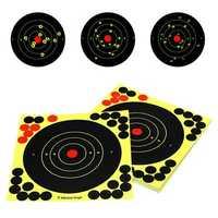 50 Pack 8'' Bullseye Splatterburst Stick Splatter Adhesive Archery Shooting Target Paper