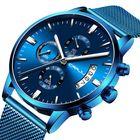 Les plus populaires CRRJU 2273 Men Blue Dial Full Mesh Steel Quartz Watch