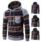 Les plus populaires Mens Raglan Sleeve Folk Style Hoodie Fashion Casual Sport Hooded Tops 4 Colors