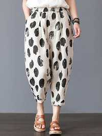 Women Elastic Waist Polka Dot Print Casual Pants