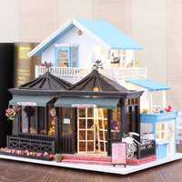 iiecreate K017 DIY Doll House Engraving Time 30*9*27cm With Furniture Light Music Cover Gift Decor Collection