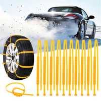 10PCS Truck Car Winter Snow Anti-skid Wheel Tire Chains Nylon Belt Yellow