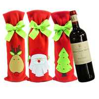 Santa Claus Wine Bottle Cover Bag Christmas Red Wine Bags Dinner Party Decoration