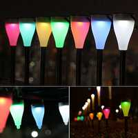 Garden Solar Power Colorful Changing LED Light Courtyard Lawn Path Stake Decoration Lamp