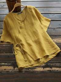 Women Cotton Button V-neck Solid Color Blouse