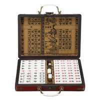 Portable Retro Mahjong Box Rare Chinese 144 Tiles Mah-Jong Set Funny Party Board Game Toy