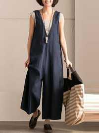 L-5XL Vintage Women Sleeveless Cotton Jumpsuit