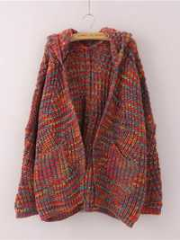Women Hooded Multicolor Batwing Sleeve Cardigan