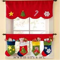 2Pcs Christmas Sock Xmas Window Curtain Hanging Part Decoration Flag Christmas Party Banner
