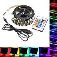 1M 2M 3M 4M USB 5V 5050 60SMD/M RGB LED Strip Light TV Back Lighting Kit +24Key Remote