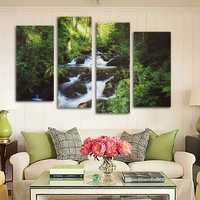 4PCS Canvas Painting Forest Stream Modern Picture Home Wall Decor