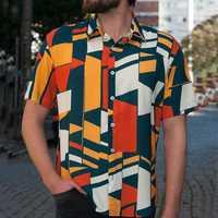 INCERUN Mens Geometric Printing Short Sleeve Fit Shirts