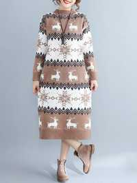 Elk Printed Knitted Sweater Dress