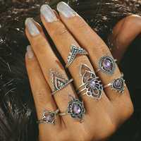 7 Pcs Purple Crystal Trendy Hollow Flower Knuckle Ring Set
