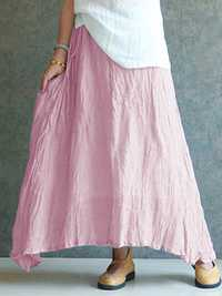 Women Vintage Pleated Cotton Casual Long Maxi Skirt