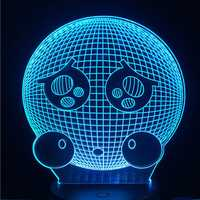 Cute Crying Emoji Face USB Battery 3D LED Lights Colorful Touch Control 7 Colors Home Decor Gift