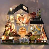 DIY Wooden Doll House Elixir Of Love Villa Miniatures LED Furniture Kit Light