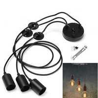 E27 3 Heads Vintage Industrial Edison Ceiling Lamp Chandelier Pendant Light Holder