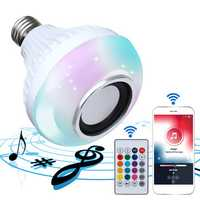 E27 Wireless bluetooth Speaker Bulb Light LED RGBW Music Play Lamp+24 Key Remote Control AC85-260V