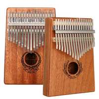 17 Keys Mahogany Kalimba Thumb Finger Piano with Turning Stick/Finger Sleeve/Sound Sticker/Posts/Cloth/Bag