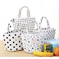 KCASA KC-CB03 Cotton Linen Lunch Tote Bag Drawstring Portable Travel Picnic Cooler Insulated Handbag