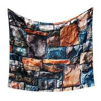 3D Stone Brick Decorative Tapestry Art Wall Hanging Living Room Decor Bedspread