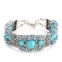 Vintage Colorful Rhinestones Beads Bracelet Turquoise Bangle