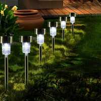 16pcs LED Solar Stainless Steel Lawn Lamps Garden Outdoor Landscape Path Light