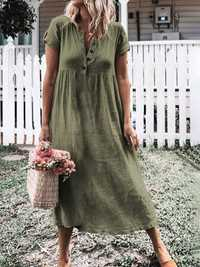 Women Short Sleeve V Neck Button Solid Color Casual Dress