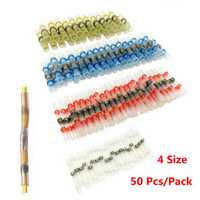 50Pcs Assortment Solder Sleeve Heat Shrink Butt Tube Terminal Connectors 4 Size