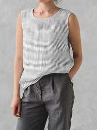S-5XL Women Cotton Striped Sleeveless Tank Tops