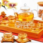 Les plus populaires Chinese Gongfu Glass Tea Pot Set With Infuser Filter Tea Light Warmer 6 Cups