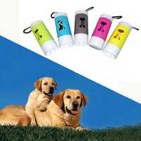LED Flashlight Dispenser For Pet Dog Cat Poop Scoop Waste Bags Roll Refill Clean Up