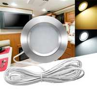 RV LED Round Recessed Ceiling Light Flat Panel Down Cabinet Lamp Warm White/White
