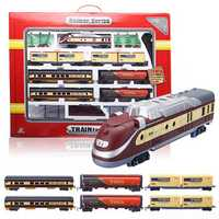 Electric Classic Train Rail Vehicle Toys Set Track Music Light Operated Carriages Educational Gift