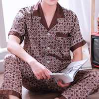 Mens Imitation Silk Printing Summer Thin Home Sleepwear Set