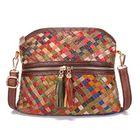 Prix de gros Women Genuine Leather Tassel Zipper Crossbody Bag