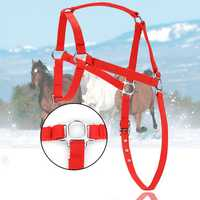 Nylon Horse Harness Halter Red Horsing Riding Adjustable For Pony Spurs Equestrian Supplies