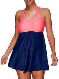 Plus Size High-elastic Cover Belly Halter Padding Swimdress