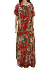 Floral Printed Short Sleeve O-Neck Women Maxi Dresses