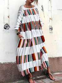 Women Loose Plaid Patchwork Long Sleeve Maxi Dress