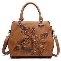 Women Rose Embroidery Handbag Elegant Tote Bag Crossbody Bag