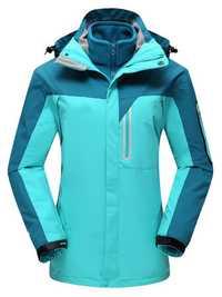 Plus Size Thick Color Block Two-Piece Hood Ski Jacket